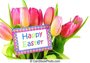Happy Easter card with tulips - Happy Easter card among pink...