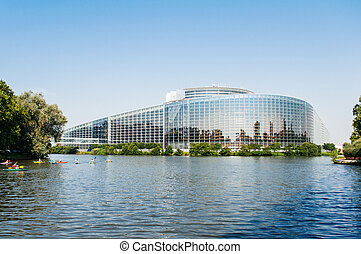 European Parliament in Strasbourg with canoers - South...