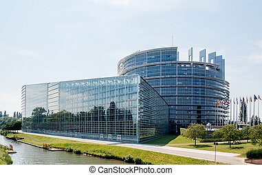 Large facade of the European Parliament in Strasbourg,...
