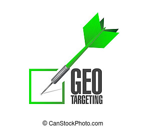 geo targeting check dart illustration design over a white...