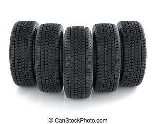 High detaled tyres isolated on white background - 3d render...