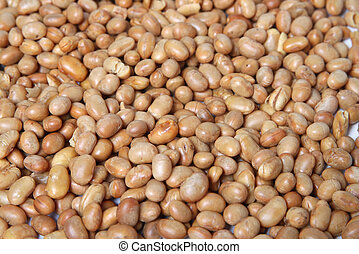 Roasted soya bean nuts - Background of roasted, unsalted...