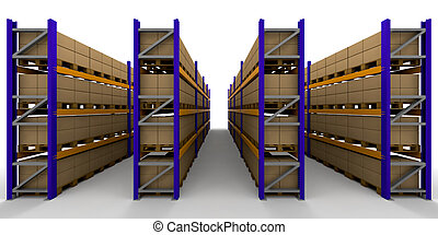 Racking - 3D render of racking full of boxes