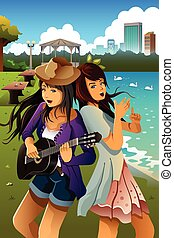 Teenage girls singing and playing guitar together - A vector...