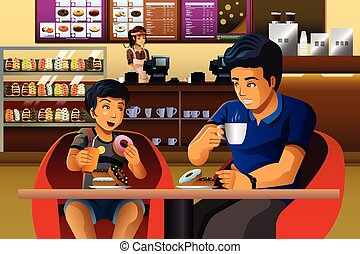 Father and son eating breakfast - A vector illustration of...