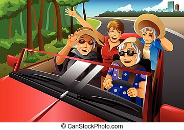 Happy stylish elderly women riding a car - A vector...