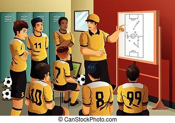 サッカー, プレーヤー, 中に, ロッカー, 部屋,...
