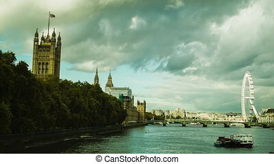 Westminster and London Eye, Thames, Cloudy