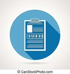 Vector icon for medical clipboard - Single blue circle flat...