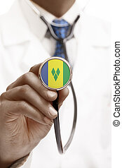 Stethoscope with national flag conceptual series - Saint...