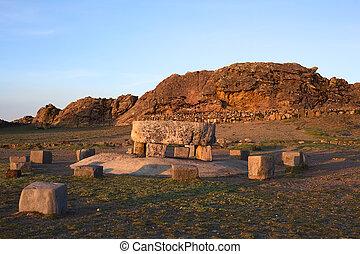 ISLA, puma, Sol, lago, Titicaca, del, roca, tabla, Bolivia,...