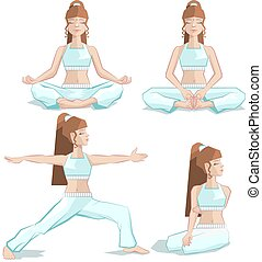 Set girl yoga pose. Illustration in vector format