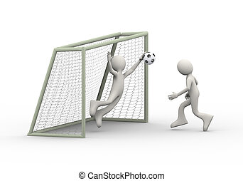 3d man kicking soccer ball into goal - 3d illustration of...