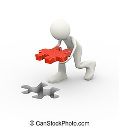 3d man placing puzzle solution - 3d illustration of man...