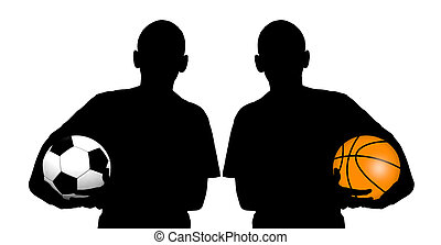 Basketball player silhouette and Soccer player silhouette...