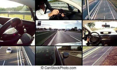 Traveling by car collage - Highway Cars and drivers montage...