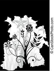 Abstract black and white floral background