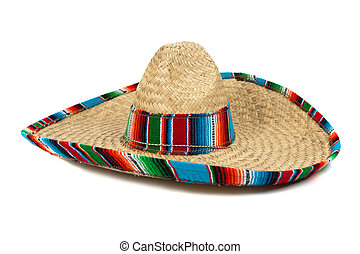 Straw Mexican Sombrero on white background - A colorful...