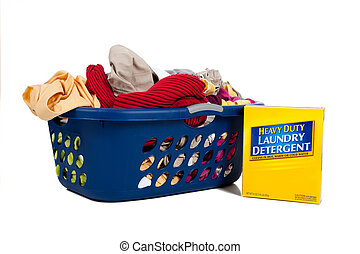 Overflowing laundry Basket with detergent - Household Chores...