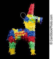 Pinata on a black background - mexican pinata on a black...