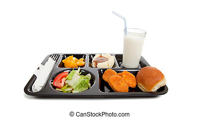 School lunch tray with food on it on a white backgrounf - A...