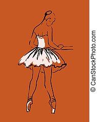 bailarinas, Esboço, vetorial, meninas