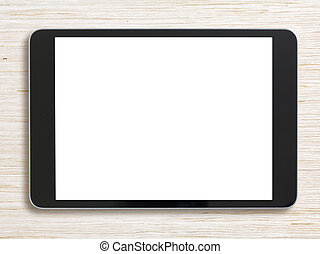 Black tablet pc on bleached wood background - Tablet pc on...