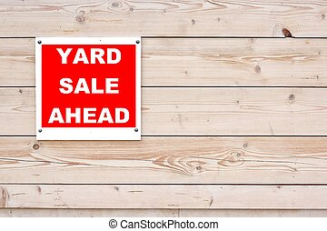 Red Yard Sale Ahead Sign