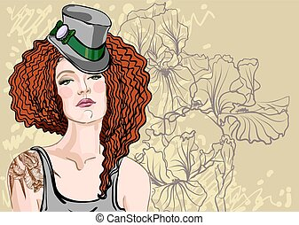 Woman with red hair - Vector portrait of a beautiful woman...