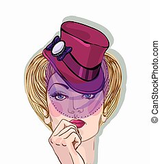 Vector portrait of a beautiful blond woman