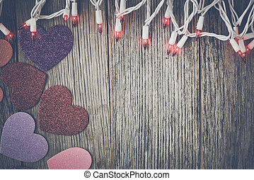 Valentine's Day Top Down Background Blurred with Hearts and...