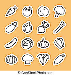Vegetable icons - illustration created by using Adobe...