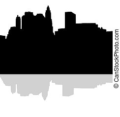 Lower Manhattan silhouette on white background - Lower...