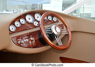 Speedboat control panel - Speed boat steering wheel and...