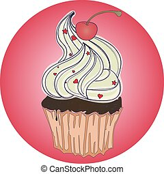Sweet tasty dessert cupcake on american cafe retro poster