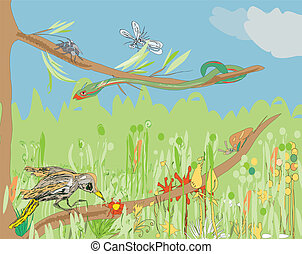 Jungle Background - Illustration of a jungle life - insects,...