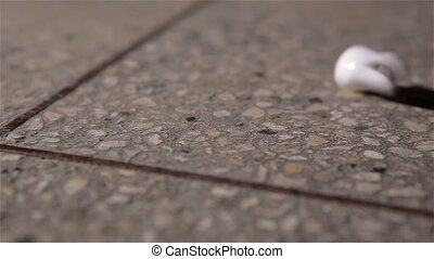 Illustration of isolated extracted human tooth on the floor...