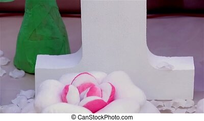 Number one with crown isolated on pink background, cam moves...