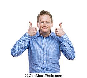 Young man posing - Happy young man in blue shirt posing....
