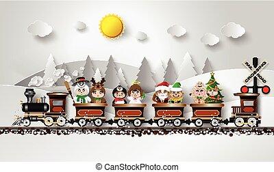 Children in fancy dress Sitting on the train