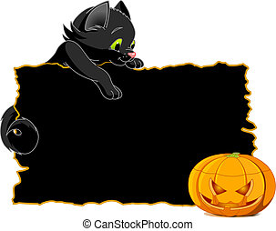 Black Cat Invite or Placard - Cute black kitten on a...