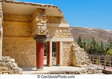 Knossos Palace ruins. Crete, Greece - Minoan Palace of...