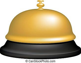 Service bell in black and golden design on white background