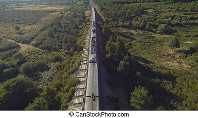 Top view of train and railway in the country, sunset - Train...