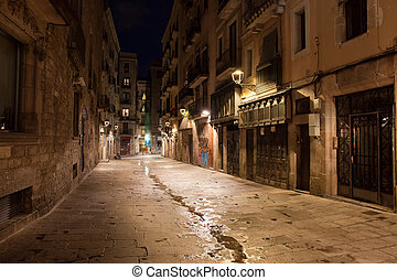 Barri Gotic at Night in Barcelona - Night in Gothic Quarter...