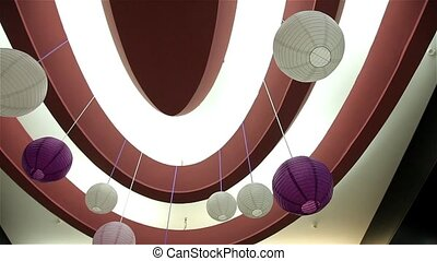 Interior and interesting spheres on ceiling, rotation 180 video