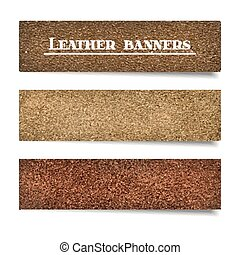 Set of suede and leather banners