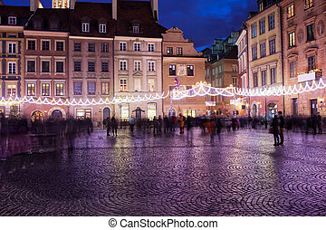 Old Town Market Place at Night in Warsaw