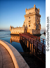 Belem Tower in Lisbon - Belem Tower on the Tagus river,...