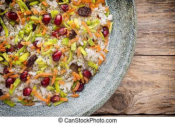 Pomegranate risotto. - Rice dish. Pomegranate with raisins....